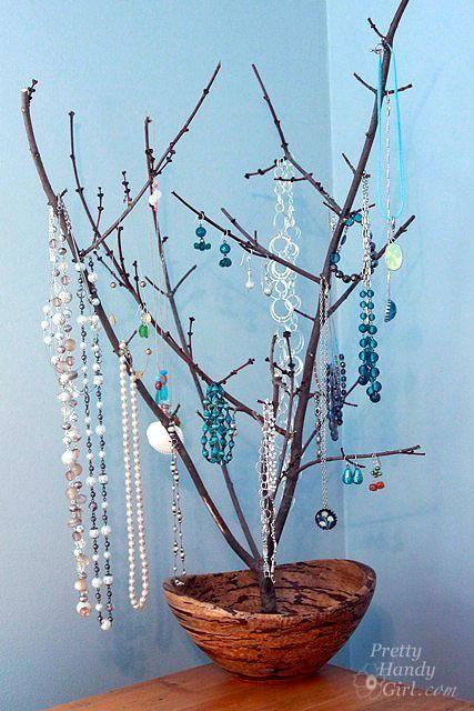 Tree Branch Necklace Holder Diy Tree Branch Jewelry Display Holder Diy Wood Crafts Recycle Diy Crafts Jewelry Jewelry Organizer Diy Diy Jewelry Holder
