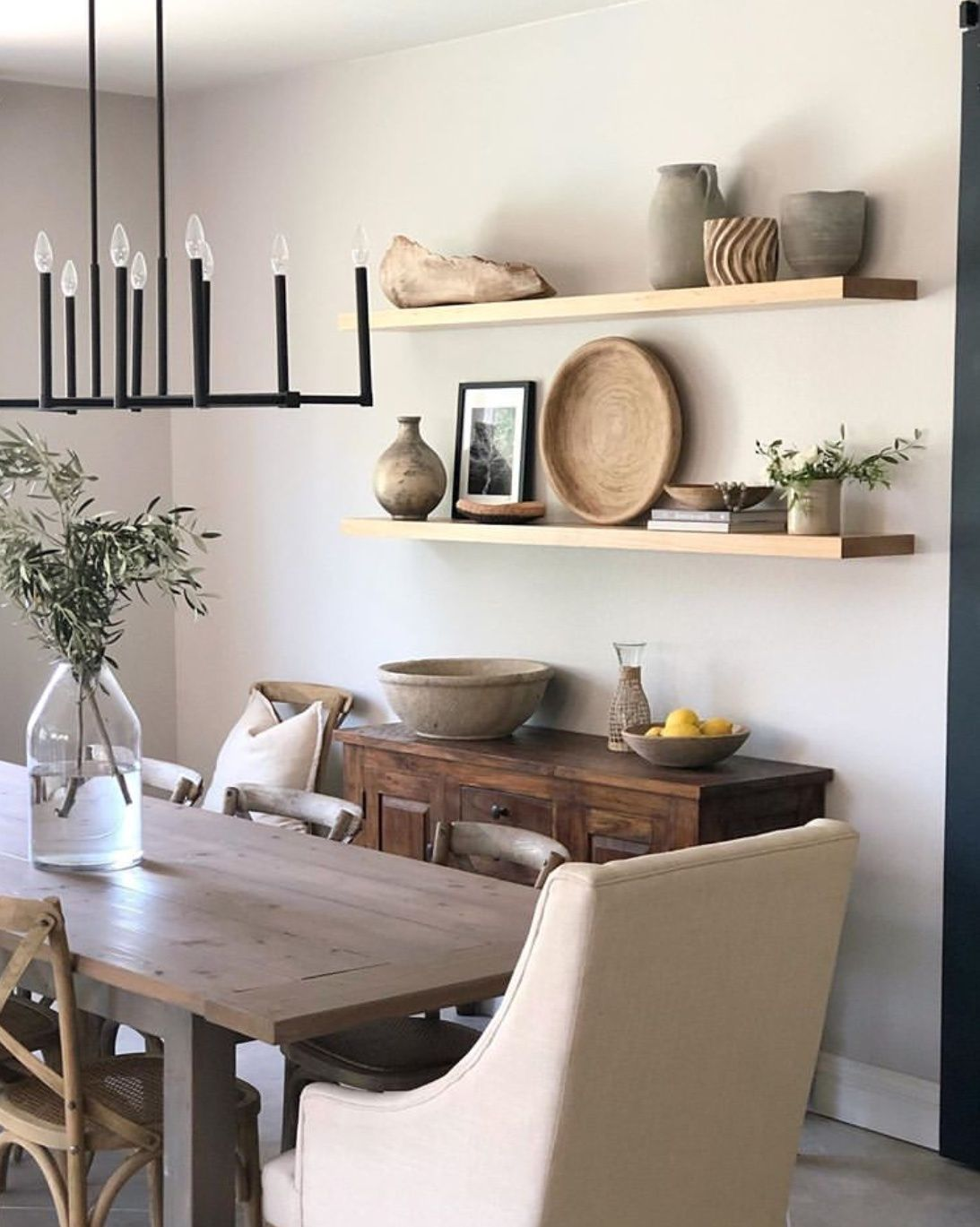 20 Ways To Use Floating Shelves For Your Home The Wonder Cottage In 2020 Dining Room Floating Shelves Dining Room Shelves Dinning Room Shelves