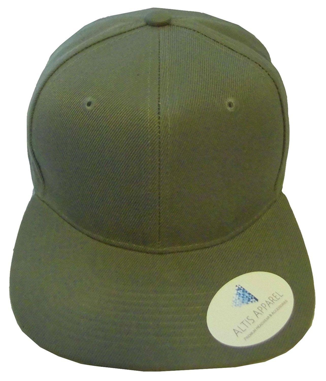 Premium Plain Solid Flat Bill Snapback Hat - Adult Sized Baseball Cap - Olive  Green - C711KV7QYAD - Hats   Caps f5c753180dd