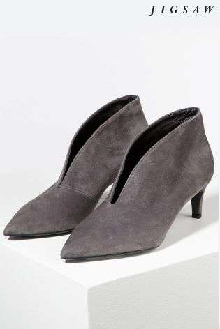 Buy Jigsaw Grey Cut Out Heeled Shoe Boot from the Next UK online shop 40dc8a1992