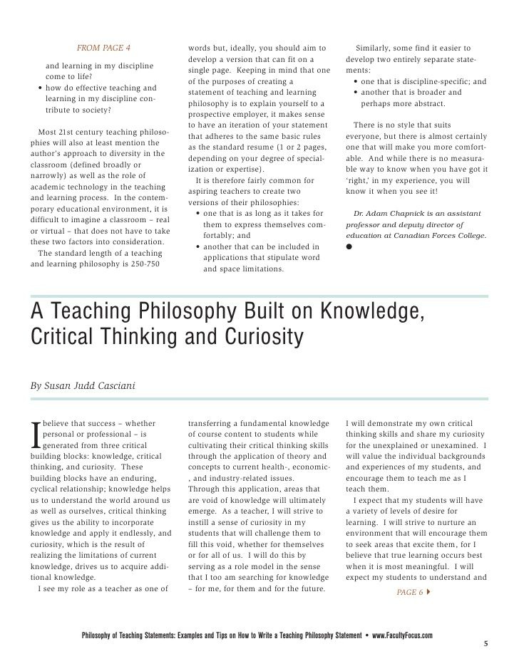 Faculty Focus Special Report Philosophy Of Teaching Statements Teaching Philosophy Teaching Interview Teaching