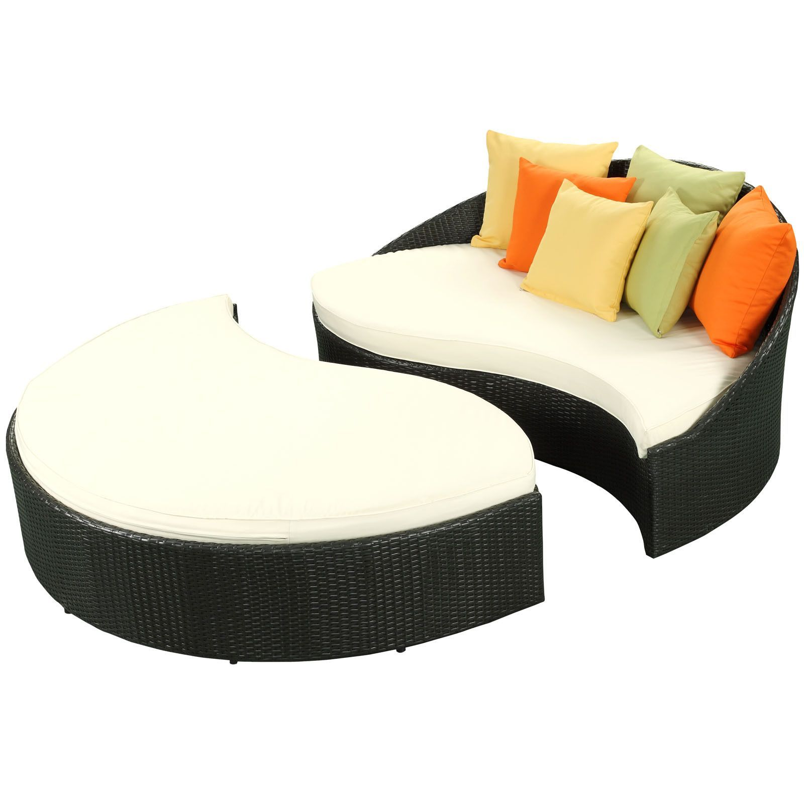 The Mystique Outdoor Patio Daybed Espresso White ... on Living Spaces Outdoor Daybed id=56430