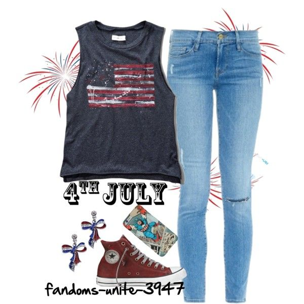 Happy 4th of July!! by fandoms-unite-3947 on Polyvore featuring Abercrombie & Fitch and Frame Denim