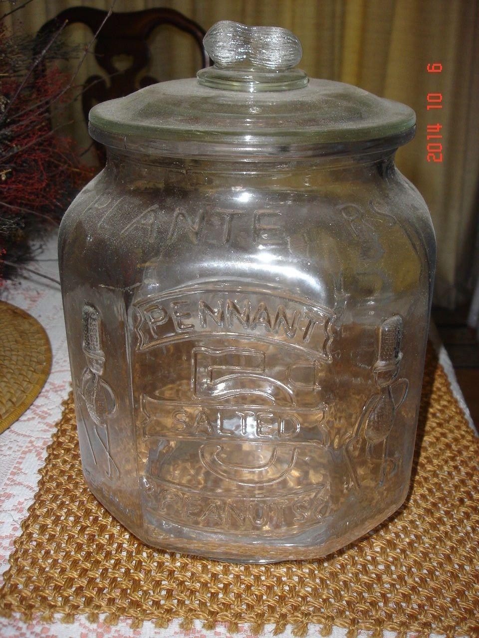 Antique Planter's Peanut Gl Display Jar w Lid | eBay | General ... on planters snack mix, planters peanuts candies, peanuts fruit snacks, planters mixed nuts, planters corn snacks,