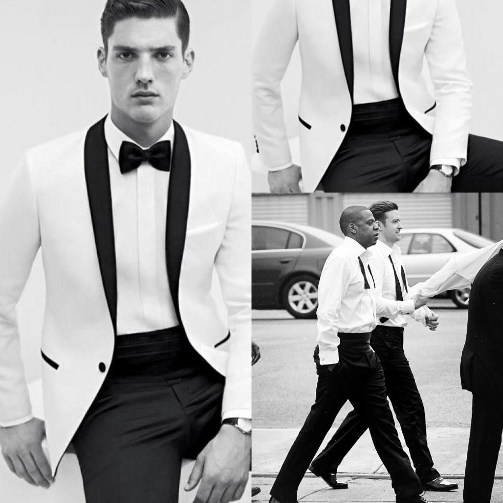 2017 Dh Slim Fit One On White Groom Tuxedos Men Tuxedo Suit Shawl Collar Groomsmen Best Man Wedding Suits Jacket Pant