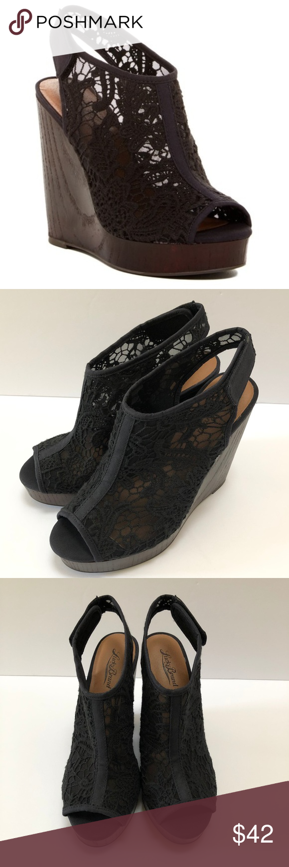 748a6c2957f Lucky Brand Open Toe Black Lace Wedges Sandals 8.5 Lucky Brand Wedges  Platform Sandals Wedge Heels