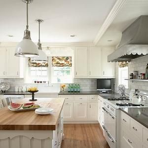 White Country Kitchen With Butcher Block susan gilmore photography - kitchens - scalloped range hood