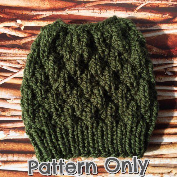 Messy Bun Beanie Pattern, Messy Bun Pattern, Knit Messy Bun Pattern, Easy Messy Bun Hat Pattern, Holey Hat Pattern, Messy Bun Beanie Pattern #messybunhat