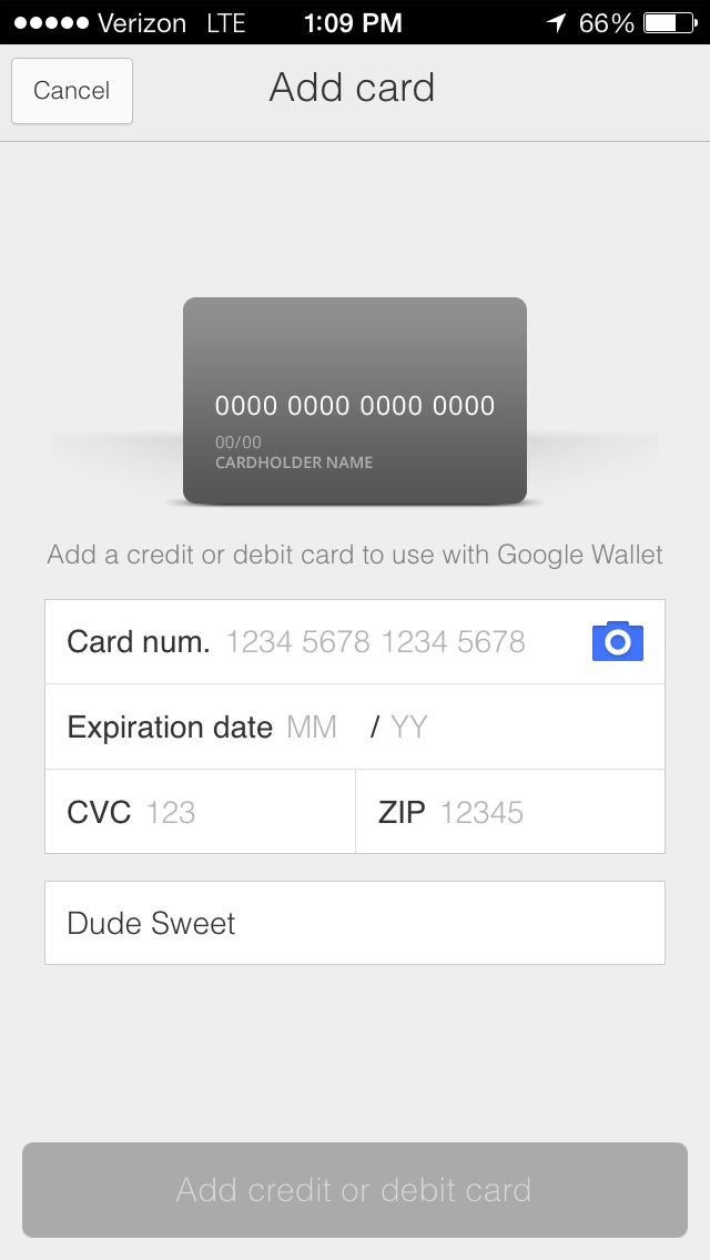 Google Wallet for IPhone, add card form Mobile Wallets - credit card form