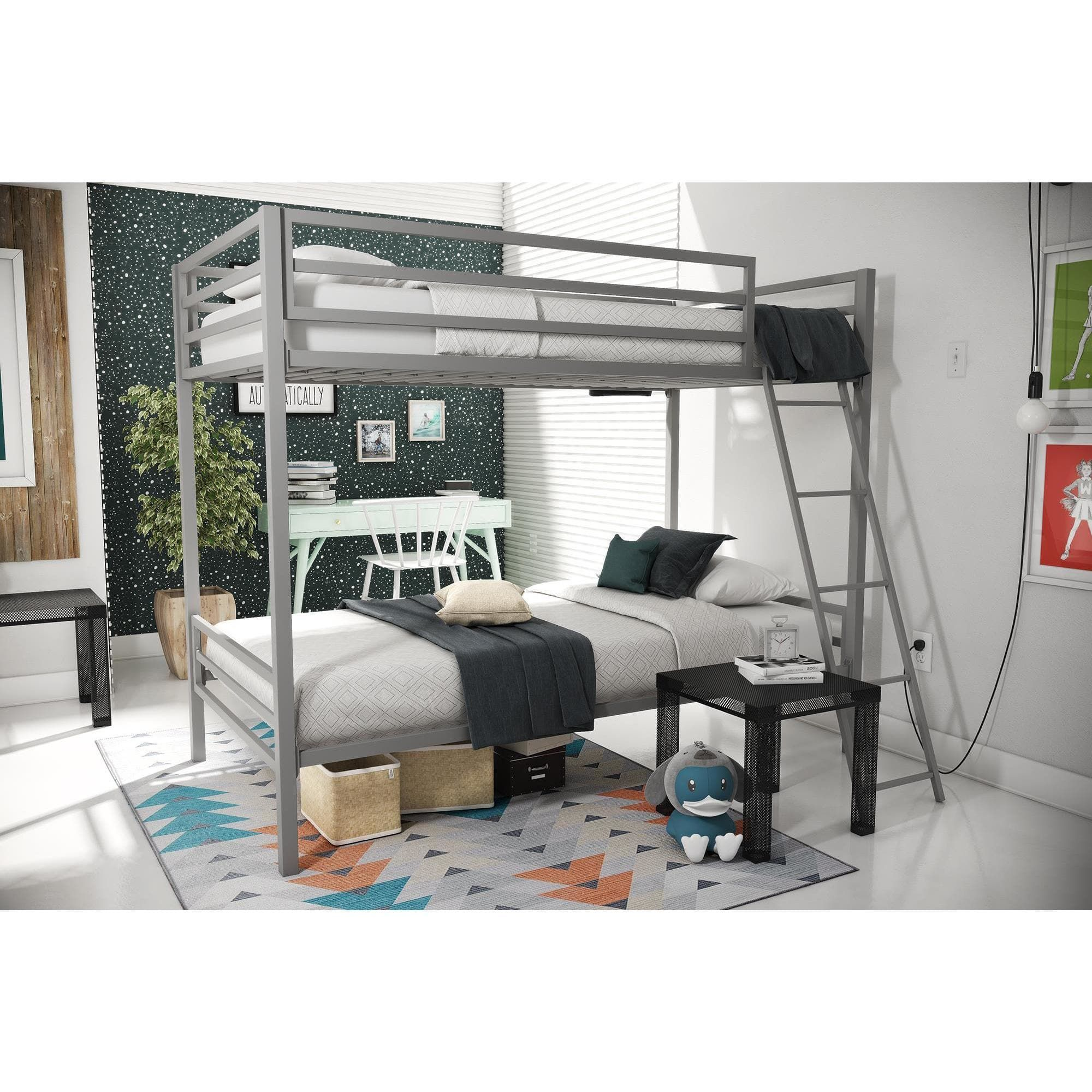 novogratz maxwell grey metal bunk bed grey size twin metal bunk