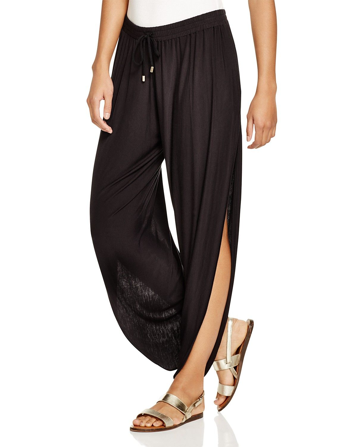 Laundry By Shelli Segal Solid Draped Swim Cover Up Pants