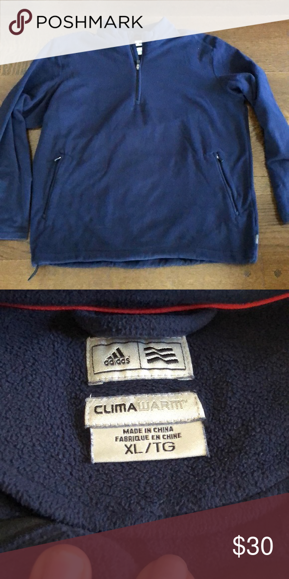 adidas 1/4 zip fleece navy