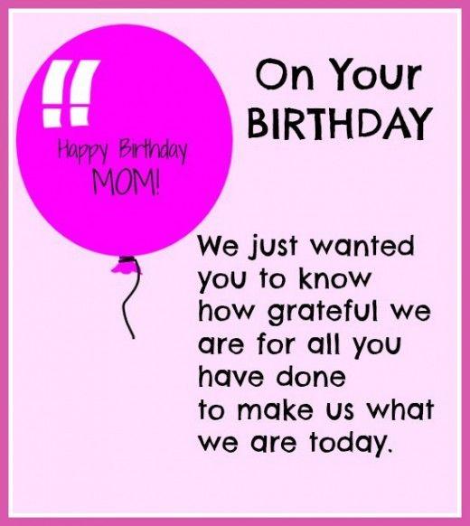 HAPPY BIRTHDAY MOM – Birthday Card Quotes Mom