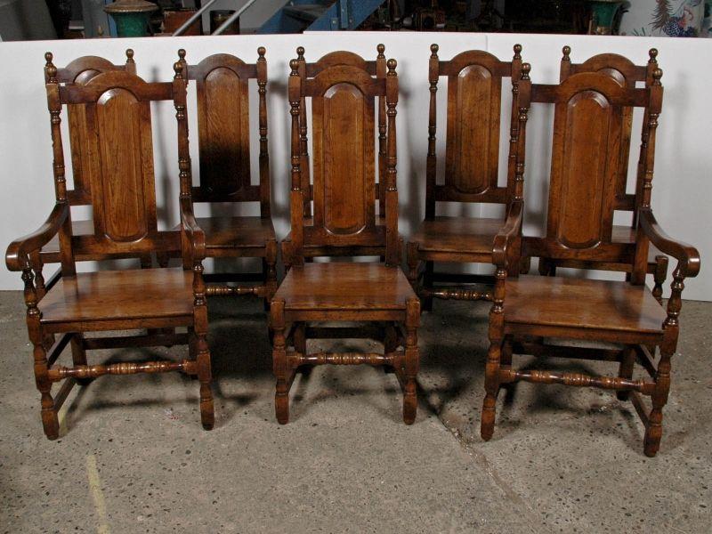 Set 8 English Elizabethan Tudor Oak Dining Chairs Chair