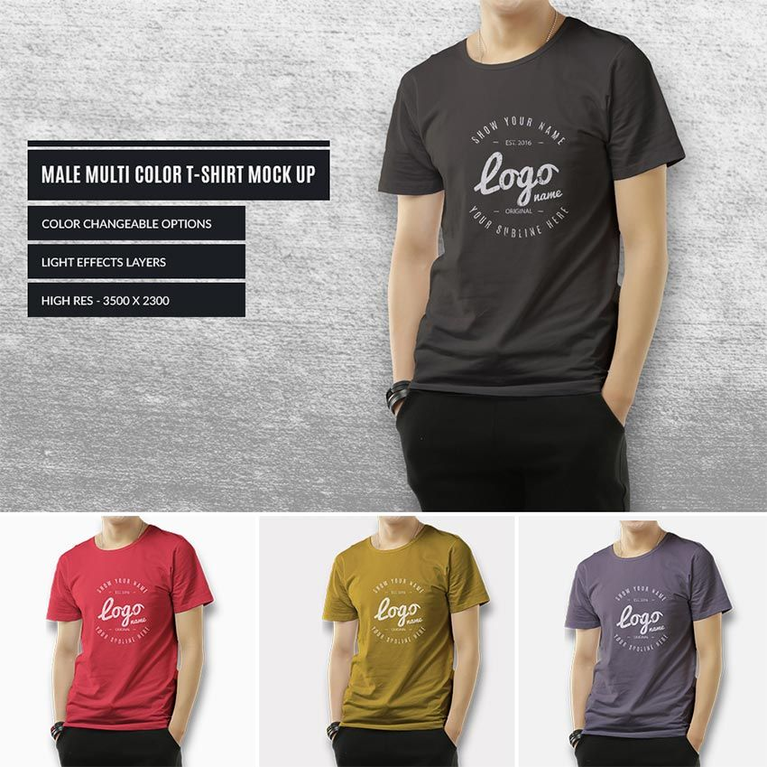 Download Multicolor Male T Shirt Mockup