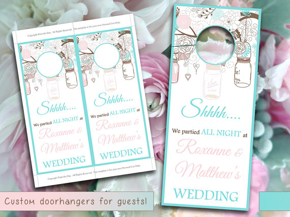 Rustic Wedding Door Hanger Template - Mason Jar Tiffany Blue Pale - wedding door hanger template