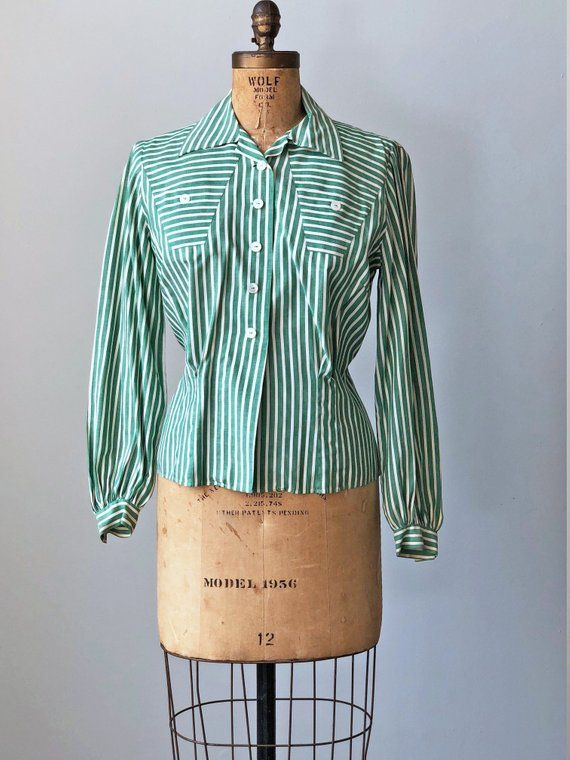 The Essential 1940s Style Blouse Vintage Frills: 1940s Blouse Vintage 30s 40s Top Deco Pine Green Ticking