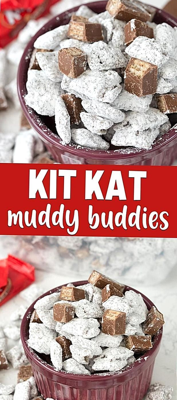 This Kit Kat Muddy Buddies recipe is so easy to make and
