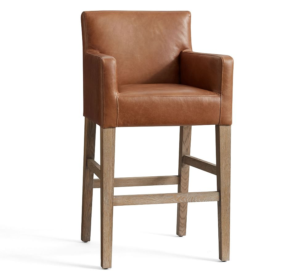 PB Classic Upholstered Leather Bar & Counter Stools Bar