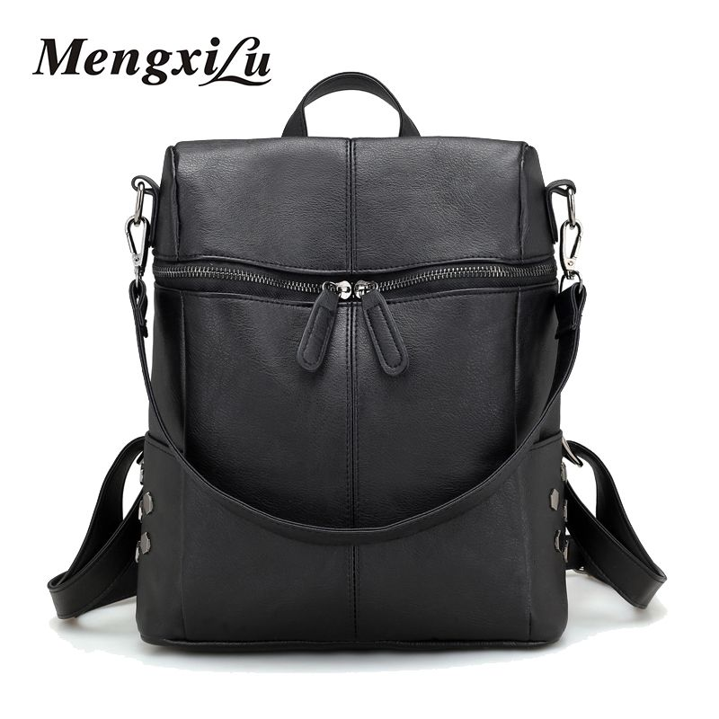 MENGXILU New Arrive Women PU Leather Backpacks Female Casual ...