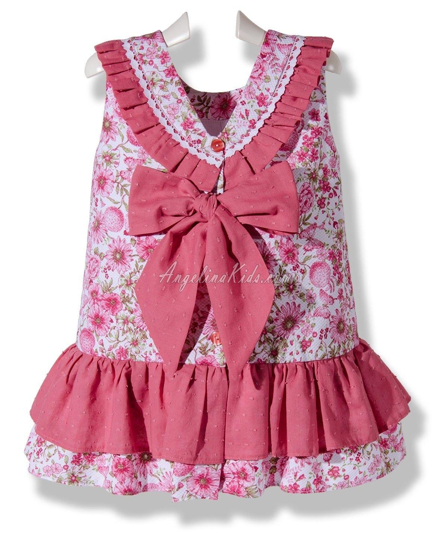 Vestido de piqué flores de abril rosa para niña | vestidos comodos ...