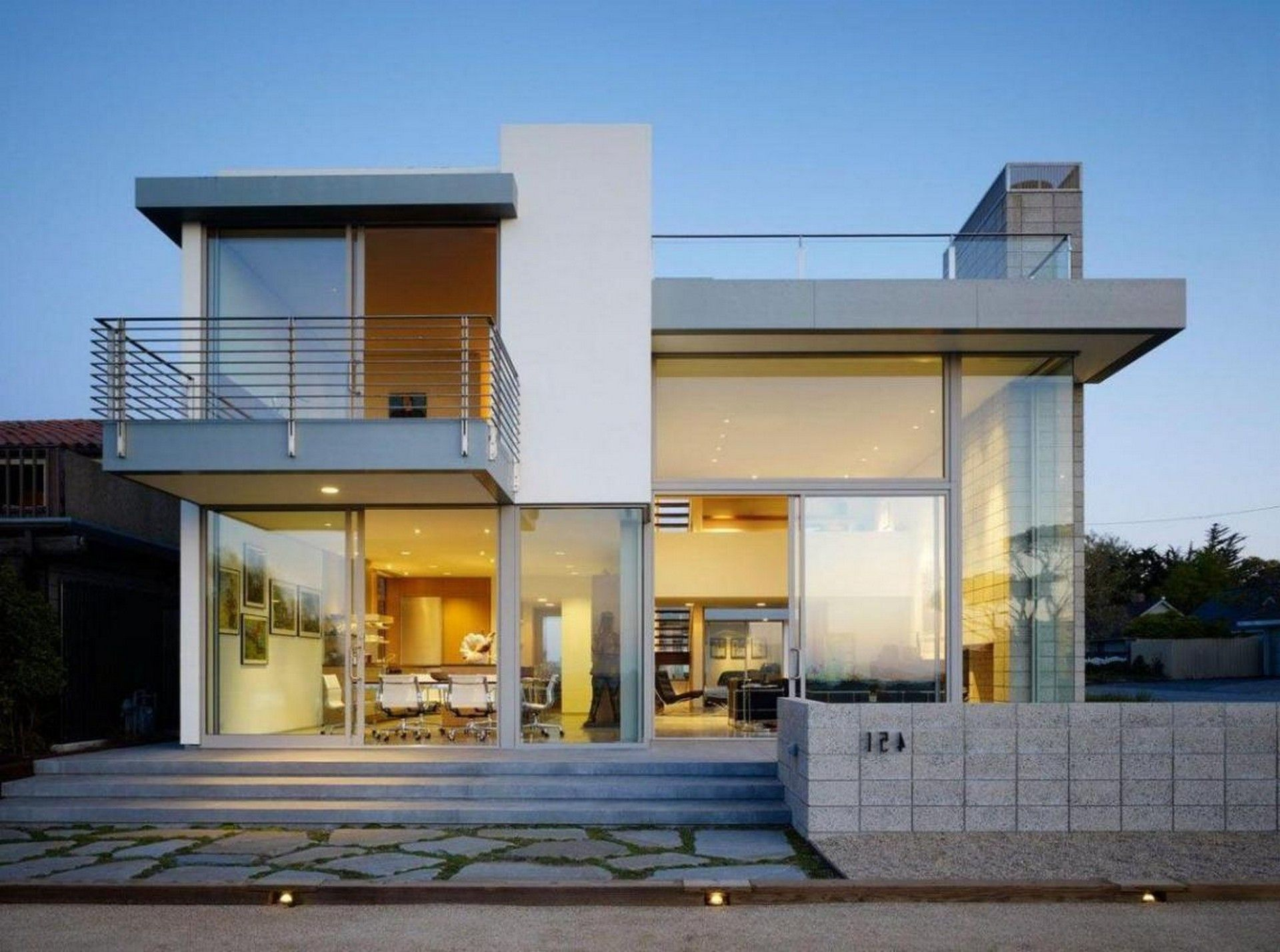 Contemporary 2 Story House Design with Deck ... | Best ...