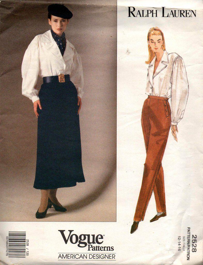 Vogue American Designer 2528 Ralph Lauren Womens 90s Blouse Skirt High Waisted Pants 90s Vinta Shirt Patterns For Women Blouse And Skirt Sewing Pattern Sizes