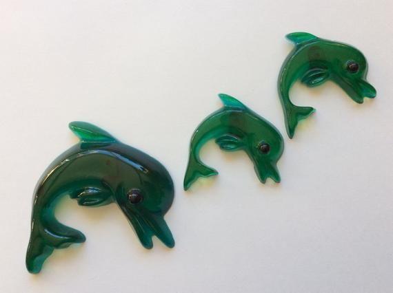 Acrylic Dolphins Set of 3 Kitsch Retro Mermaid Bathroom Decor #mermaidbathroomdecor