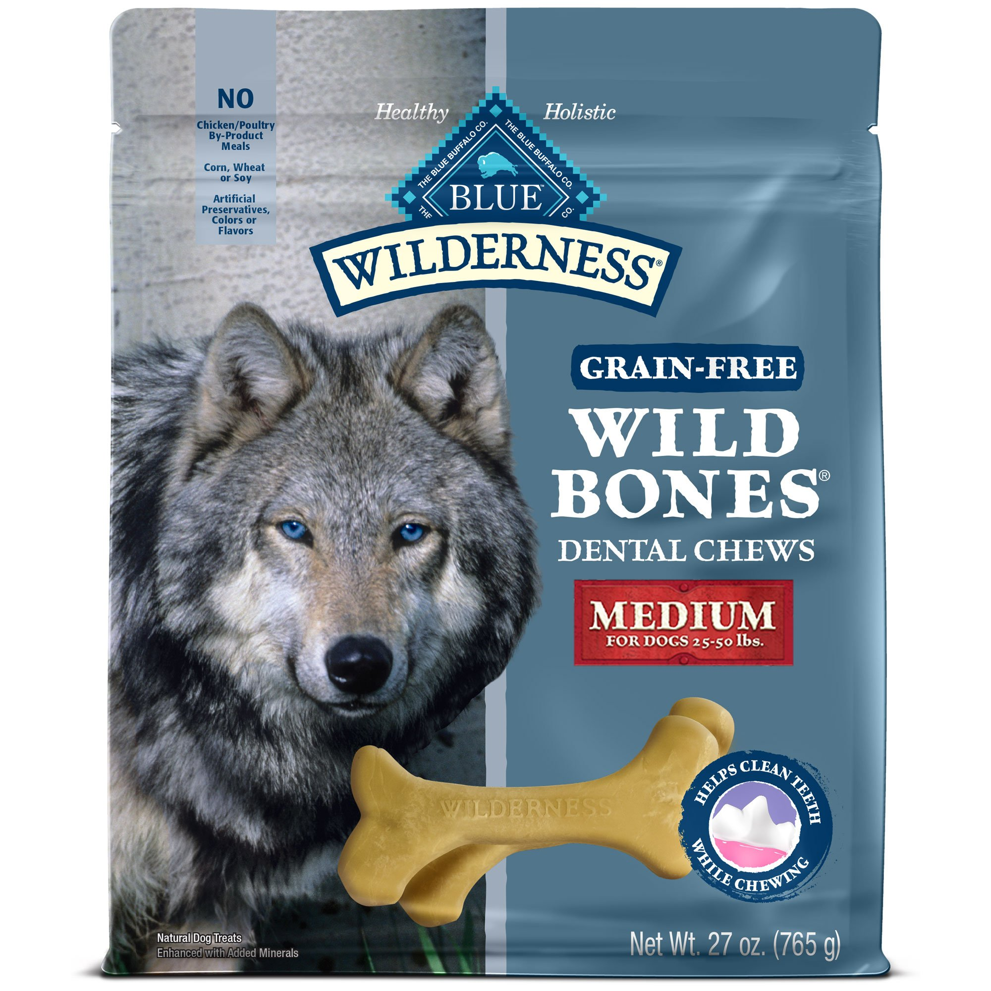 Blue Buffalo Wild Bones Dog Chew Regular 27 Oz Dog Treats Grain