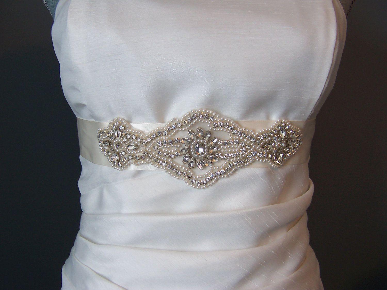 Bridal sash brides sash wedding dress sash rhinestones