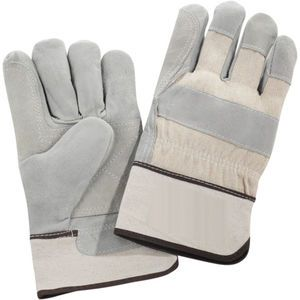 High quality shoulder leather gloves with double leather in the palm area for extended wear. White fabric safety cuff offers a large imprintable area, while adding wrist protection. Large standard size only.