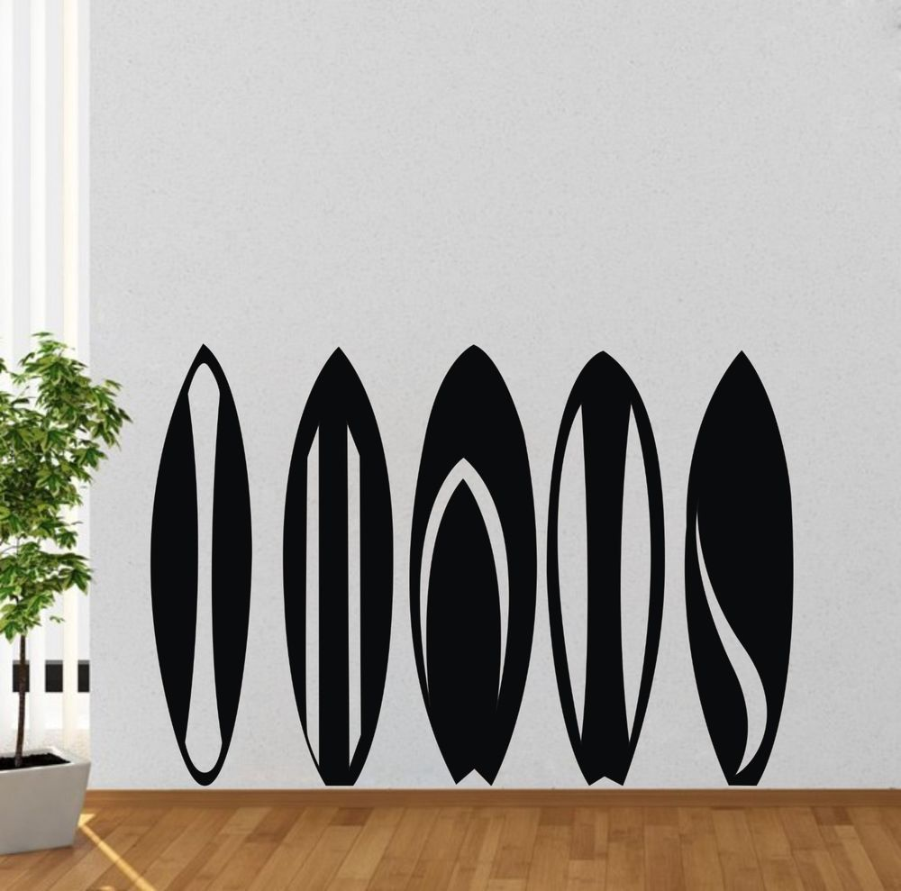 Surfboard vinyl decal removable mural black diy wall sticker home surfboard vinyl decal removable mural black diy wall sticker home room decor amipublicfo Gallery
