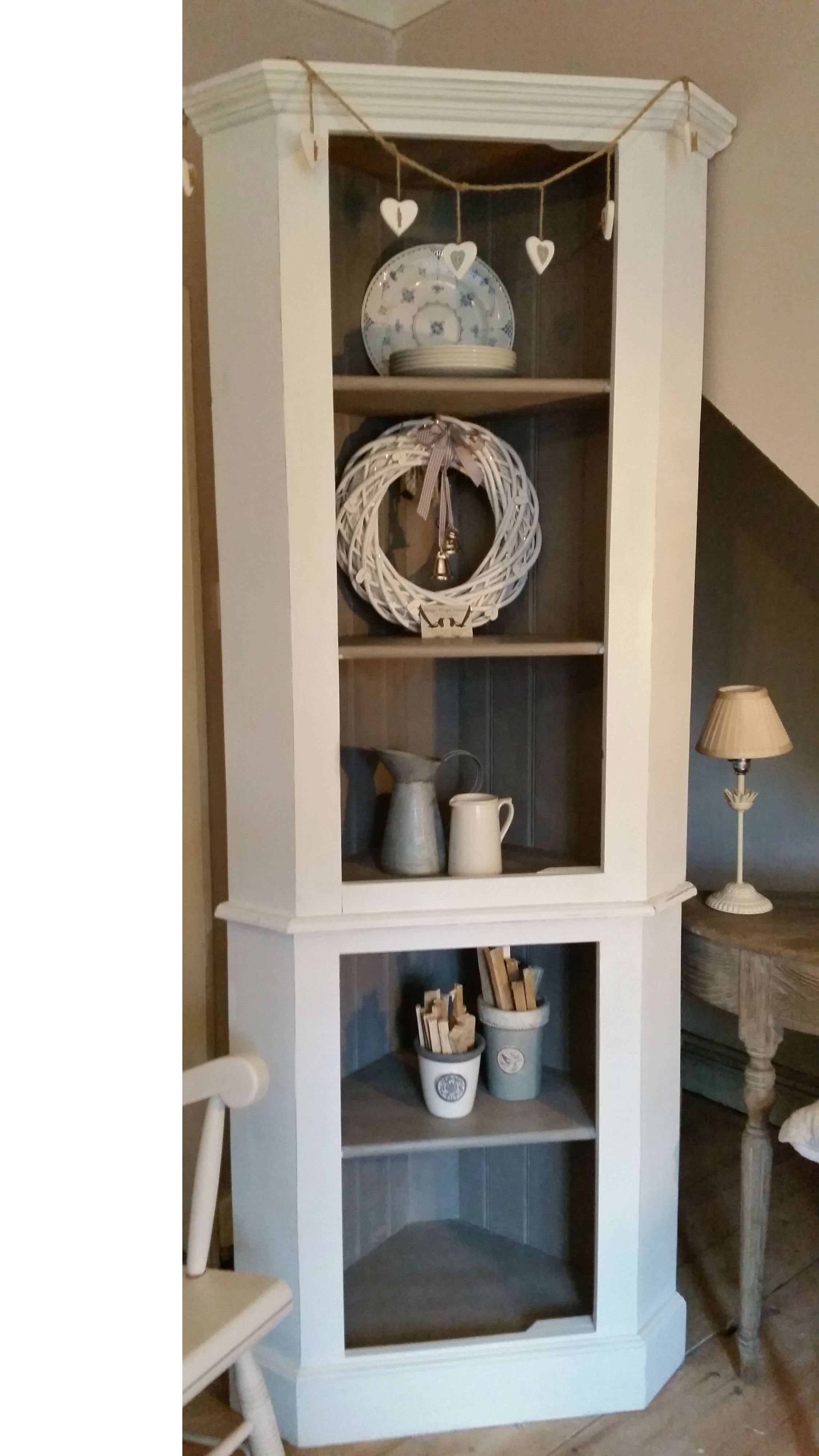 Solid Pine Rustic Corner Shelving Unit Painted In Annie Sloan Old White And French Linen Linenshelves House Decor Rustic Home Decor Rustic House