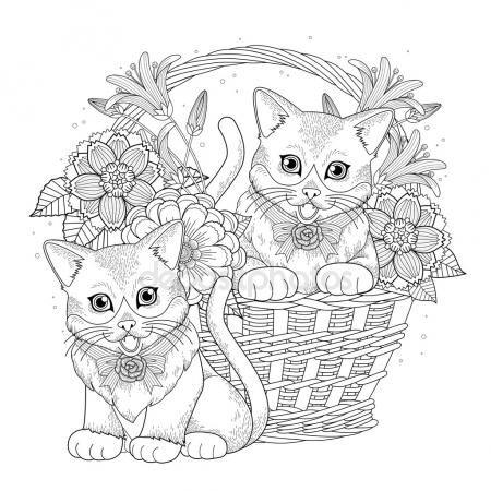 Descargar - Página para colorear de kitty adorable — Ilustración de ...