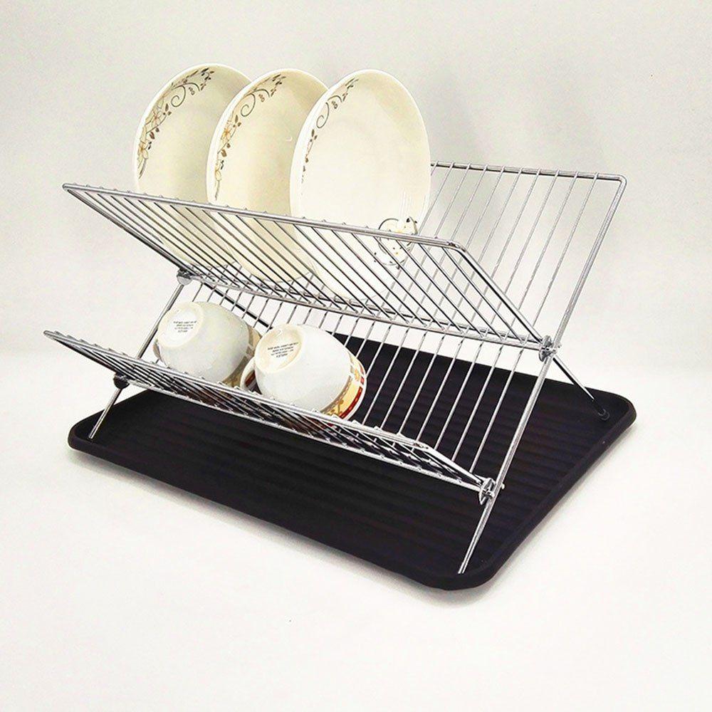 Folding Dish Rack Set 2 Tier Chrome Kitchen Organizer Tools Plate