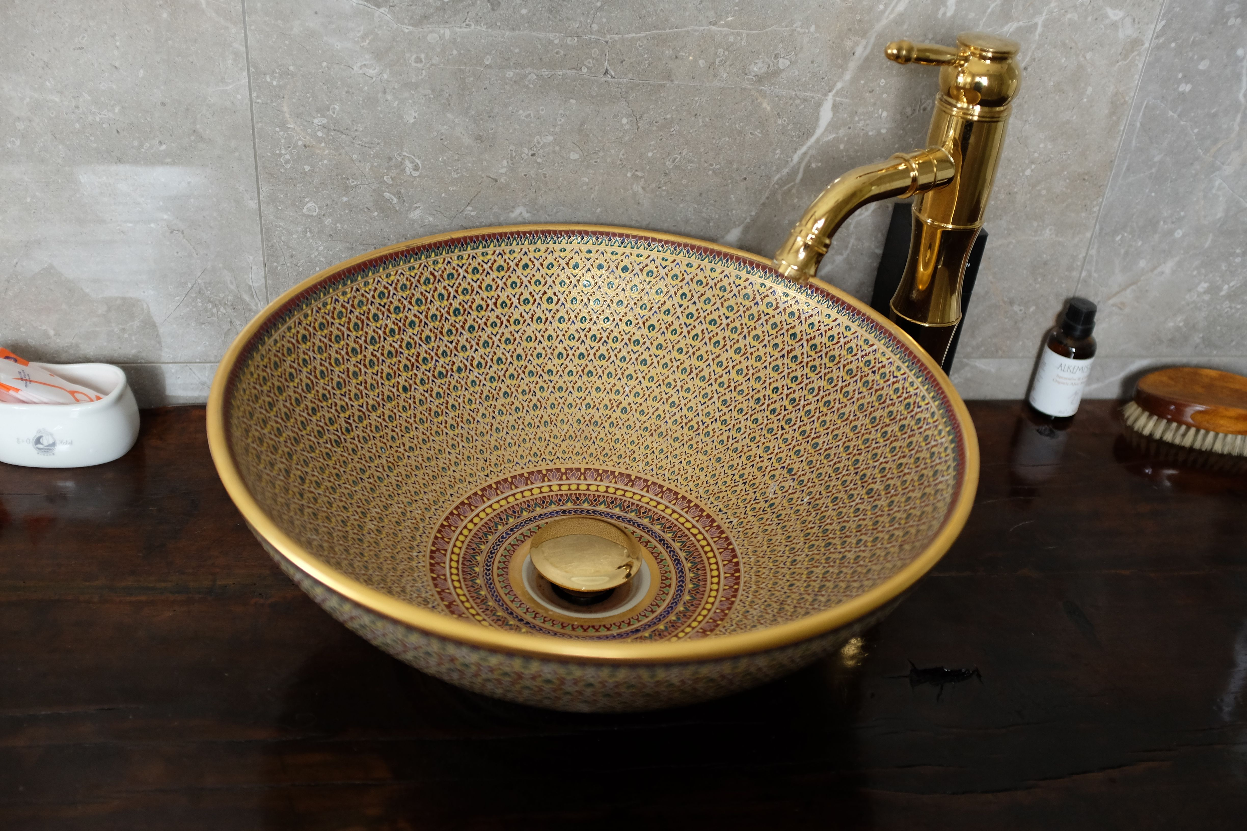Thai Bencharong Vessel Sink Imported From Our Holiday Purchased