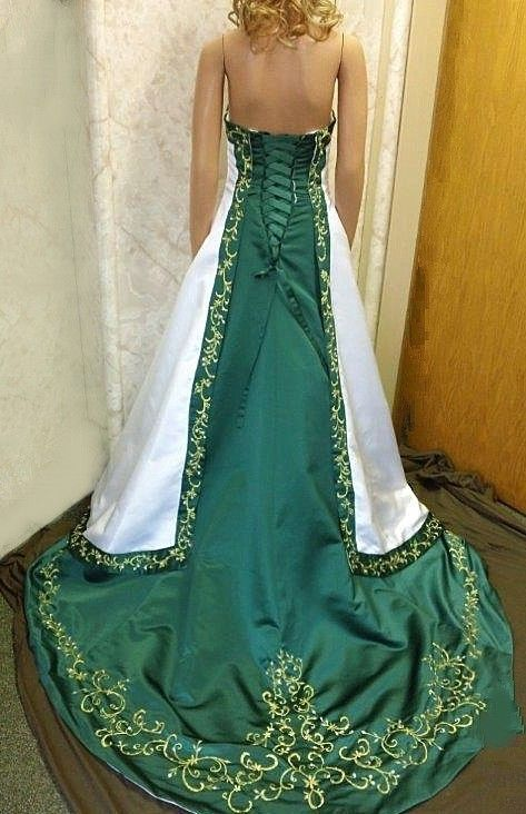Strapless Wedding Gown With Red Trim Green Wedding Dresses Emerald Wedding Dresses Celtic Wedding Dress