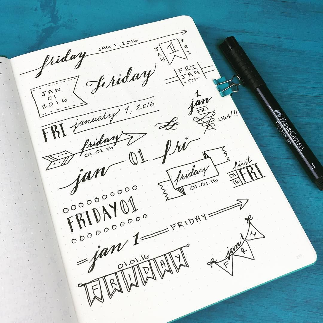 Playing around with different header styles for my bulletjournal inhellip