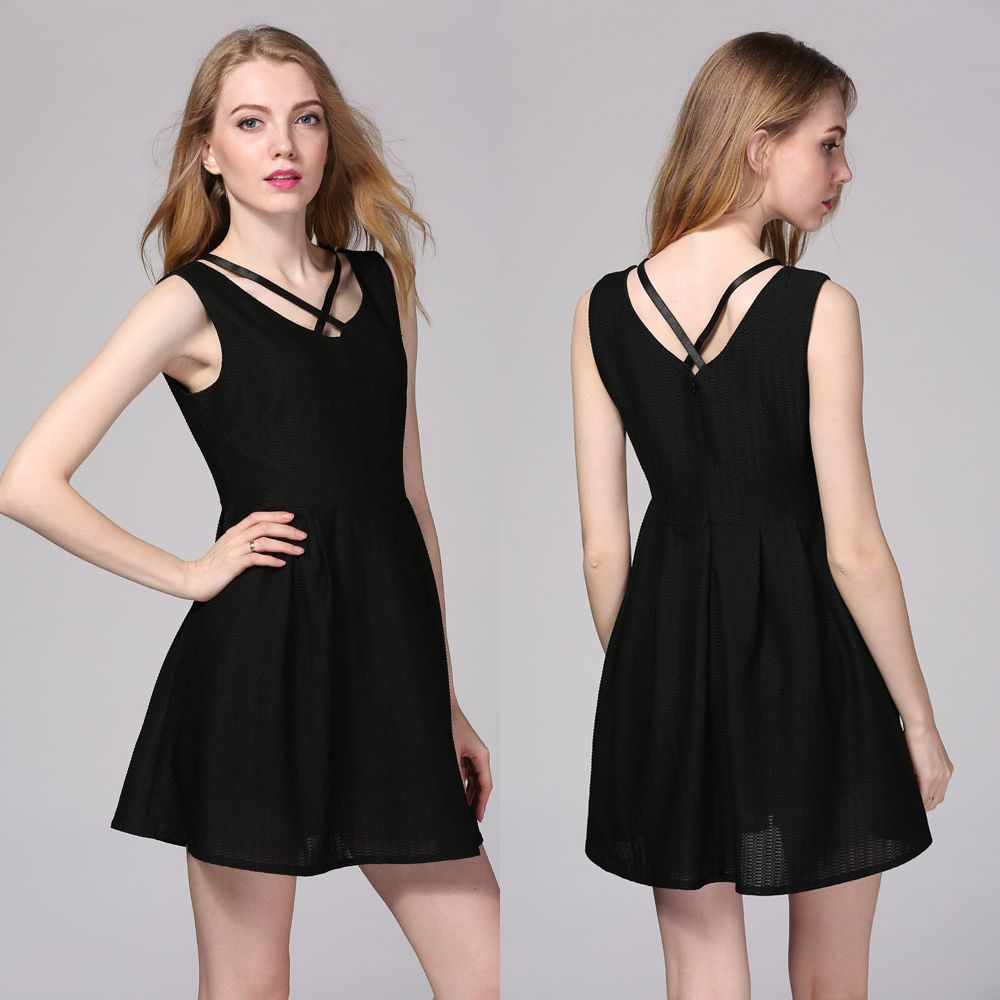 Vintage womens bodycon sleeveless casual evening party cocktail
