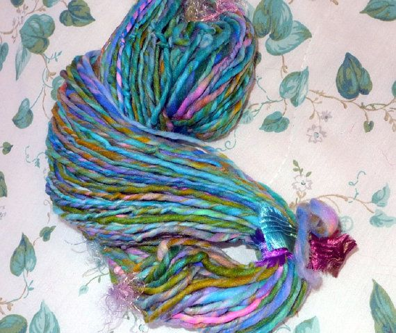 Handspun Art Yarn / Vegan / Fairy Meadow / by Dreamfiber on Etsy, $35.00