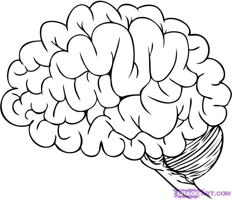 Brain Cartoon Colouring Pages