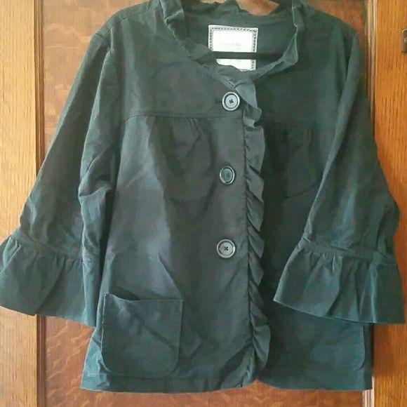 Jacket 3/4 length sleeves Black with ruffle colar, ruffles sleeves, ruffle down the front with 3 large button closure Sonoma Jackets & Coats