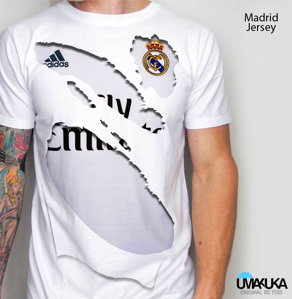HEMAT Kaos 3DReal madrid home robek Mens tops, Real