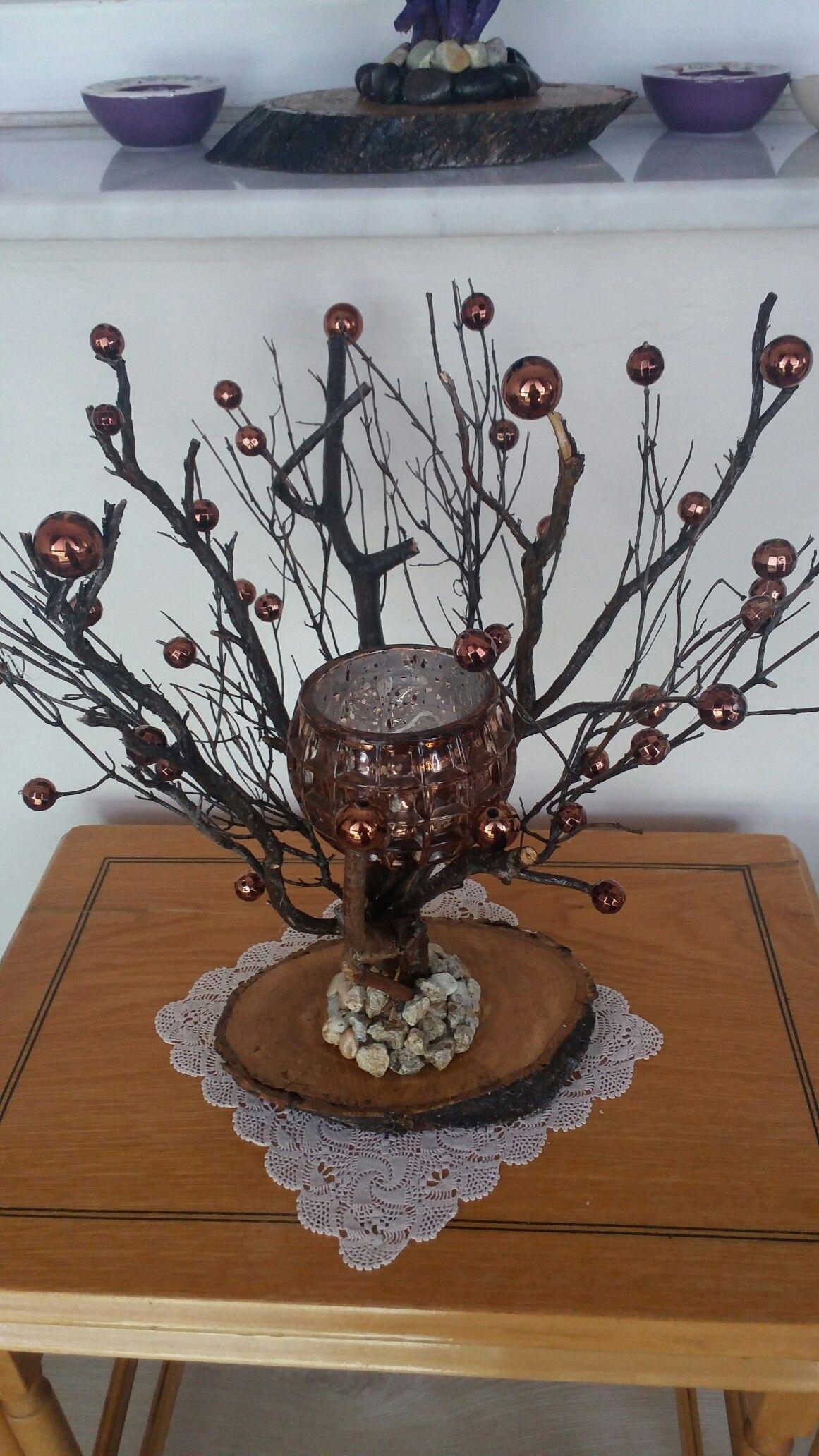 Ağaç Dallarından şamdan Taş Boyama Kozalak Dekorasyon Boncuklu Kütük