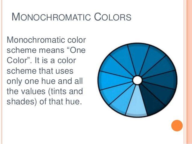 Monochromatic Colors Monochromatic Color Scheme Means One Color It Is A Color Scheme That Uses Onl Monochromatic Color Scheme Color Schemes Color Wheel