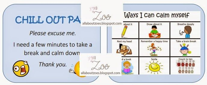 Chill Out Pass And Ways I Can Calm Myself Fantastic Resource This Template Is Designed To Be Folded In Half So One Side Has Education Ebd Classroom Student