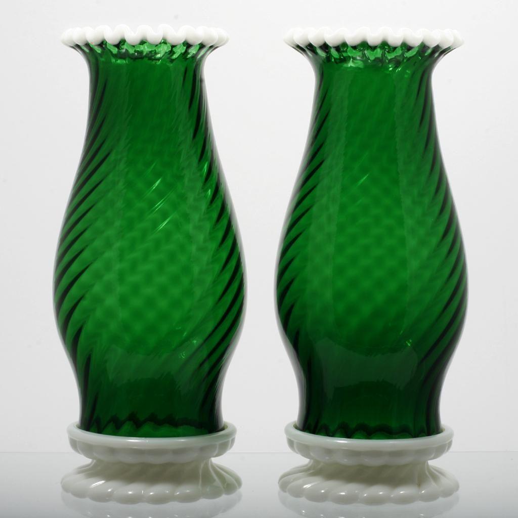 Emerald Art Glass fenton glass green snowcrest hurricane lamps pair vintage 1950s