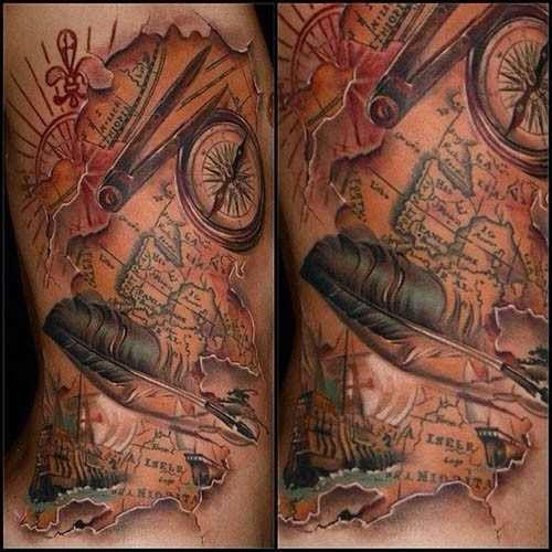 detailed map tattoo