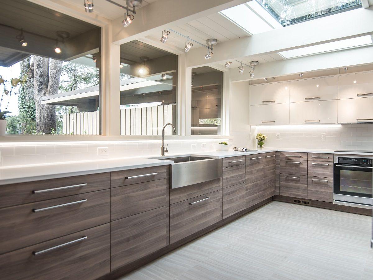 SEKTION Kitchen in Walnut Veneer & White Acrylic Custom