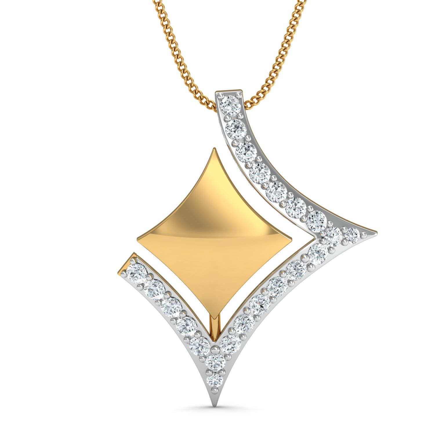 with pendant property room white star gold l shape diamond chain grams
